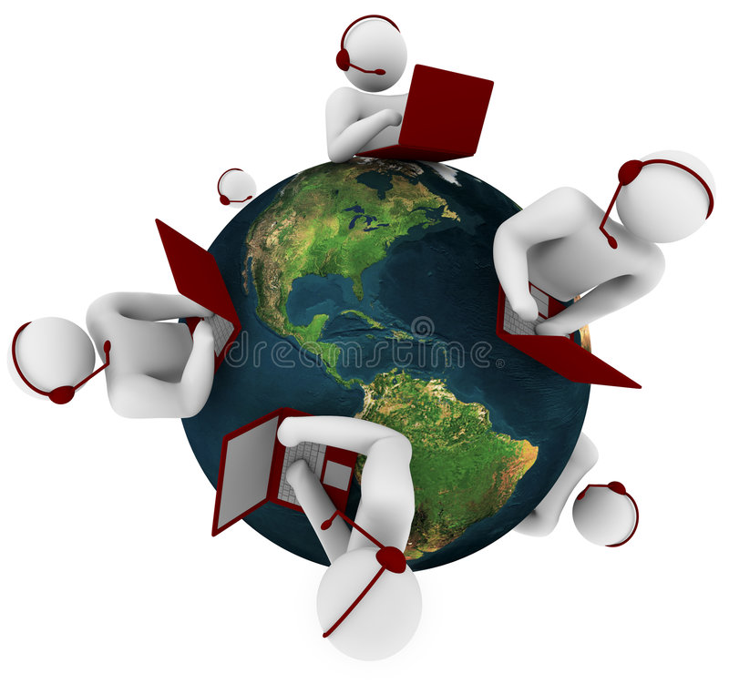 Customer Support Network - Global vector illustration