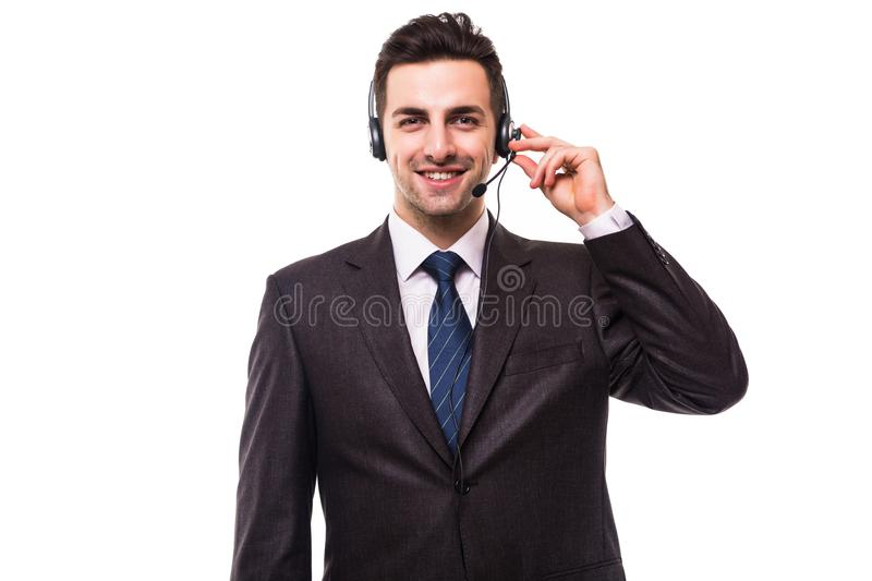 Customer support operator with a headset on white stock images