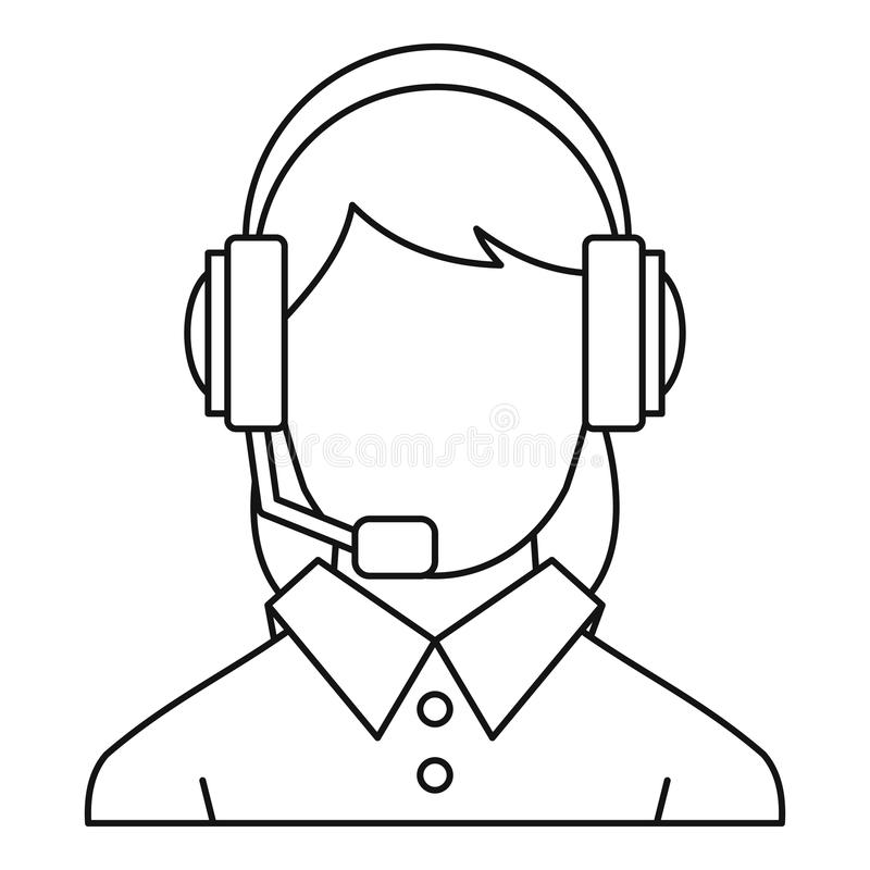 Customer support operator icon, outline style vector illustration