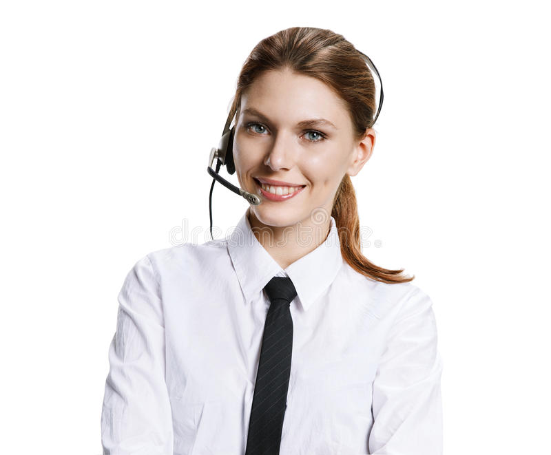 Customer support operator. Portrait of young attractive brunette girl with headset - isolated on white background royalty free stock photos