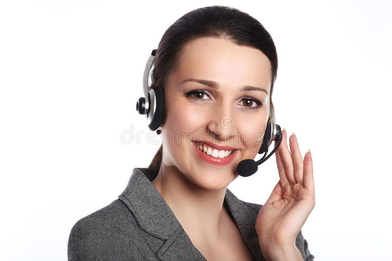 Customer support operator. Woman face.Call center smiling operator with phone headset on white background.Attractive young people stock photography