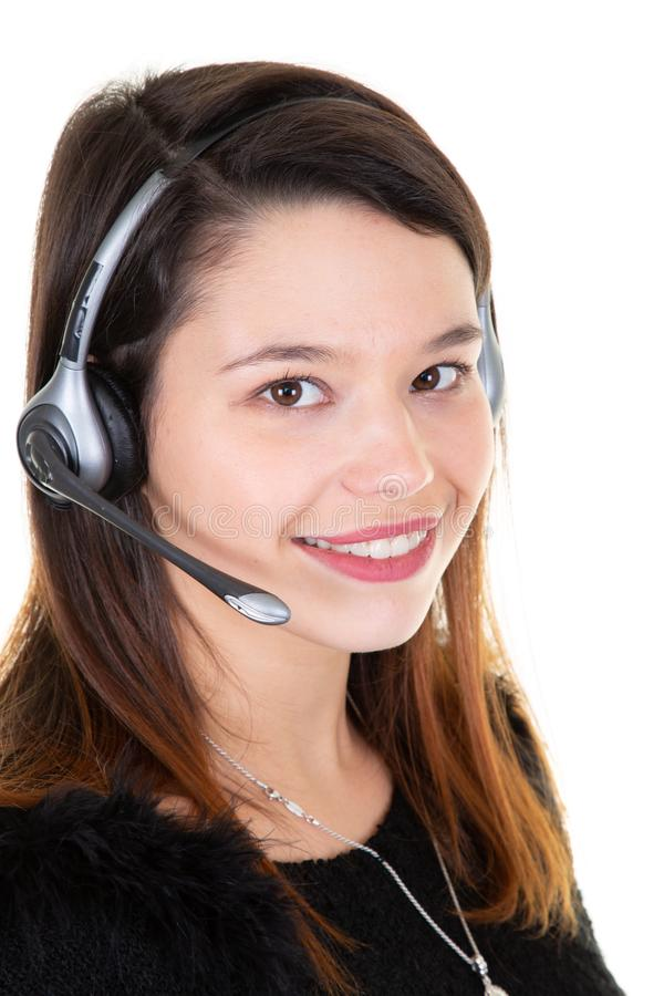 Customer support operator working in a call center office royalty free stock photo
