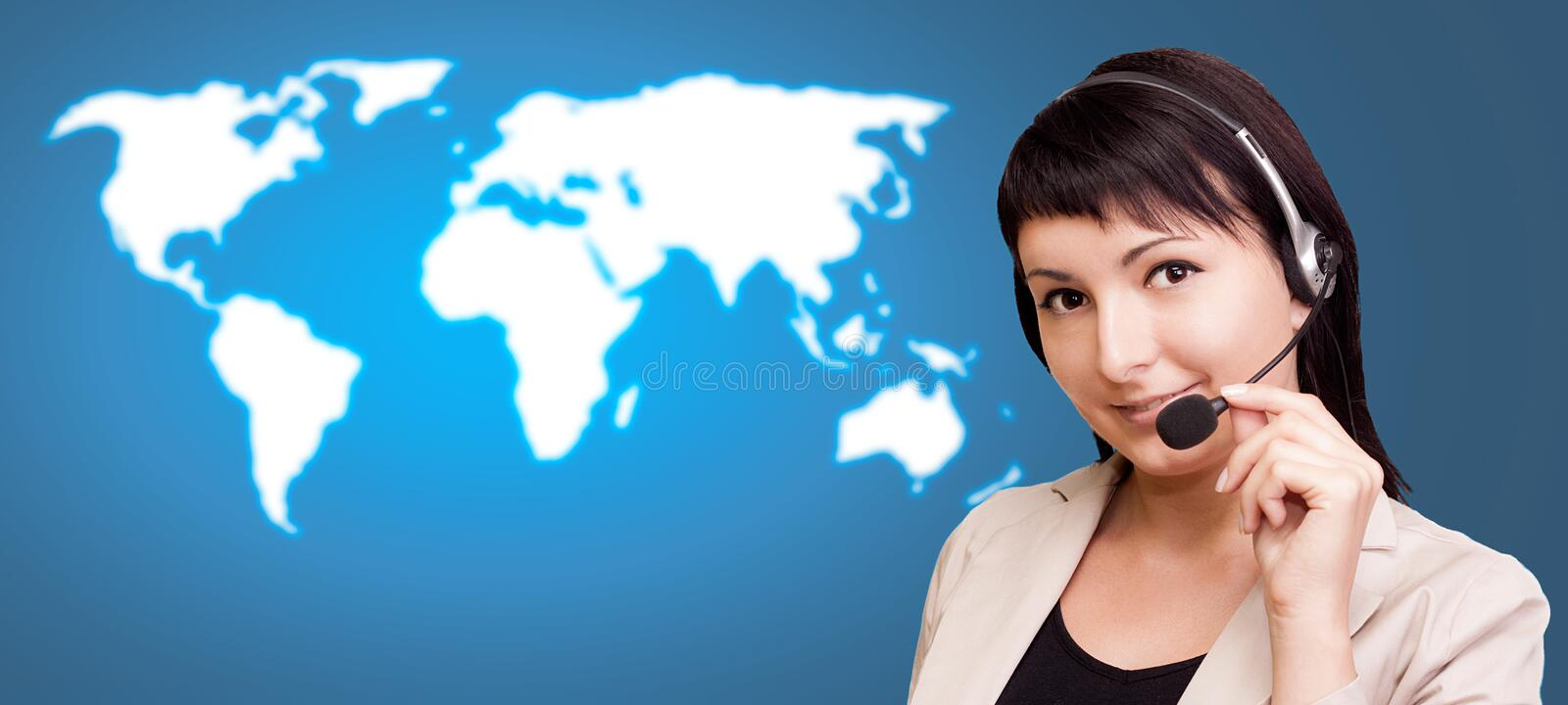 Customer support over the world map stock photo