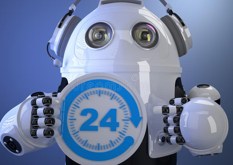 Customer support phone operator robot in headset. Contains clipping path stock illustration