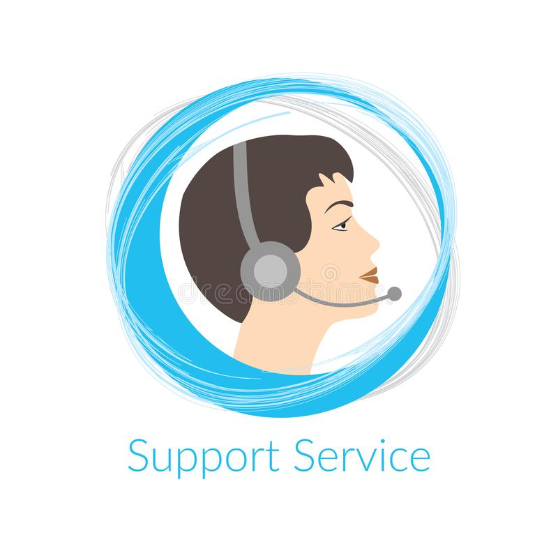 Customer support service agent with headset royalty free illustration