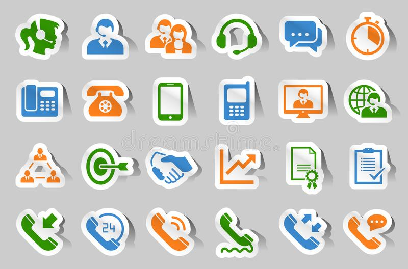 Customer support service sticker icon set stock illustration