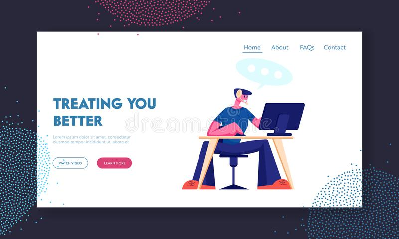 Customer Support Service Website Landing Page. Consultant on Hotline Chat with Clients. Call Center Male Technical. Professional Receptionist Answer Web Page vector illustration