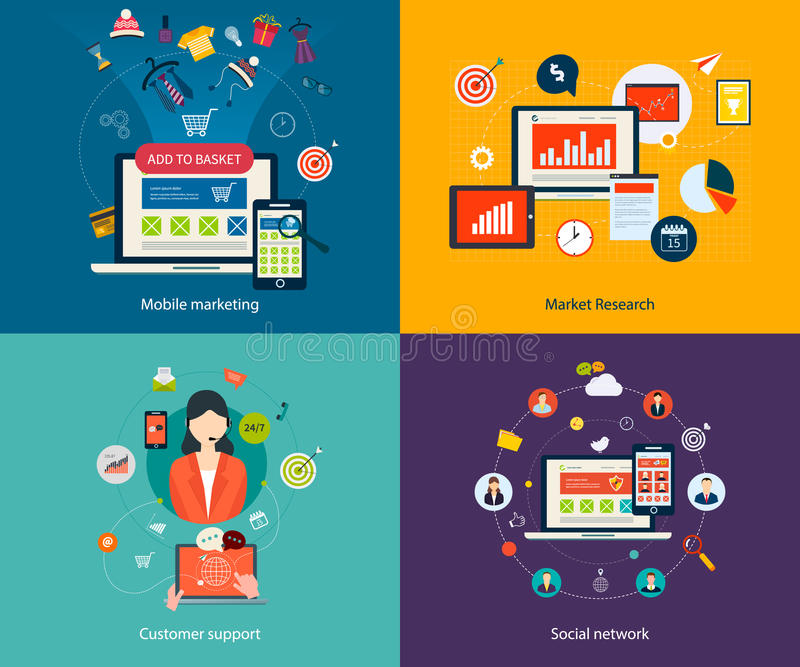 Customer support and social network vector illustration