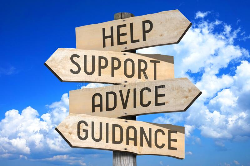 Help Support Advice Guidance Assistance Signpost Stock Photos ...