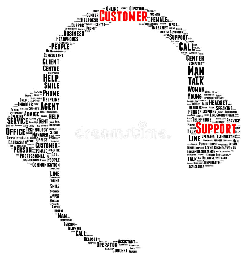 Customer support word cloud shape. Concept stock illustration