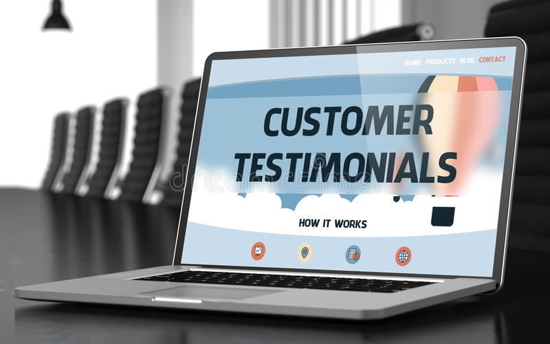 Customer Testimonials on Laptop in Conference Room. 3D. royalty free stock photography