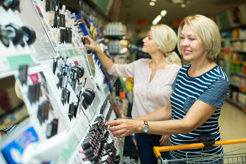 Customers in beauty section royalty free stock image