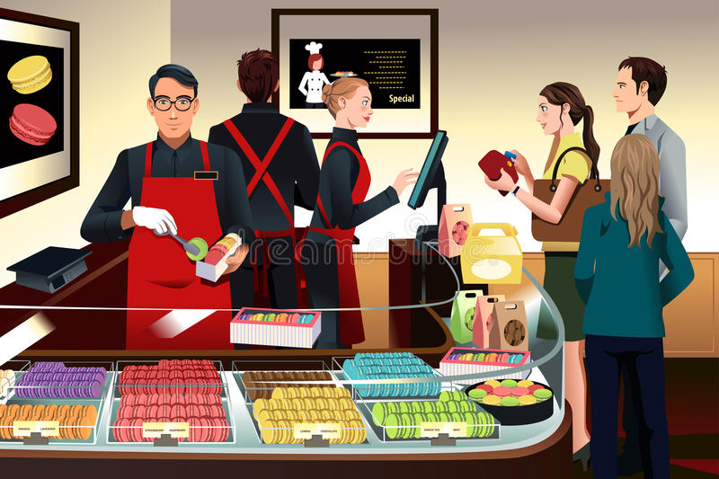 Customers buying macaroons vector illustration