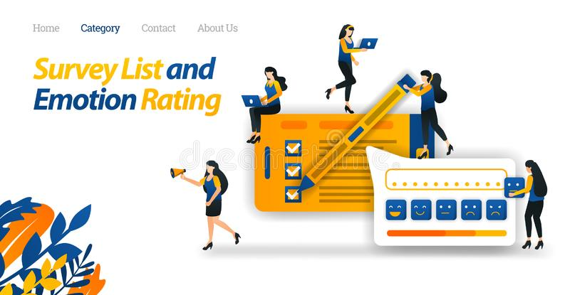 Customers Carry Out Satisfaction Surveys to Online Shop Services and Provide Various Emotional Ratings with Emoticon. Vector Web. Customers Carry Out vector illustration