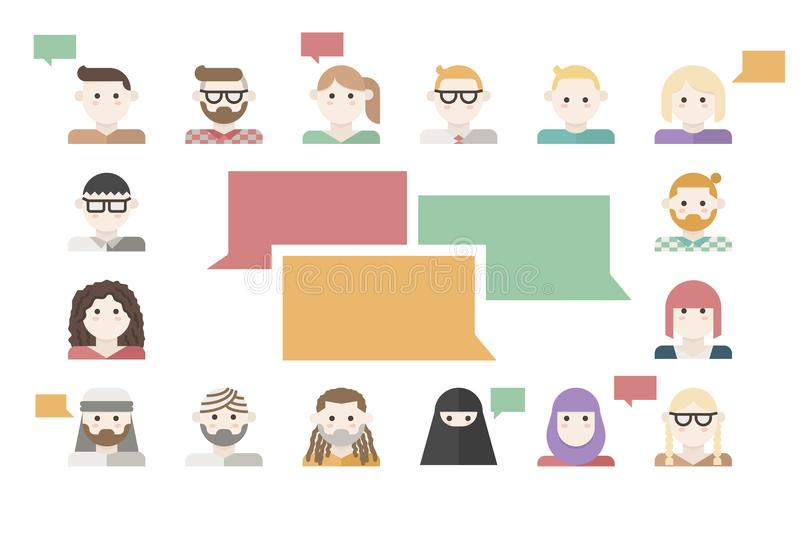Customers feedback concept. Illustration with many human avatars vector illustration