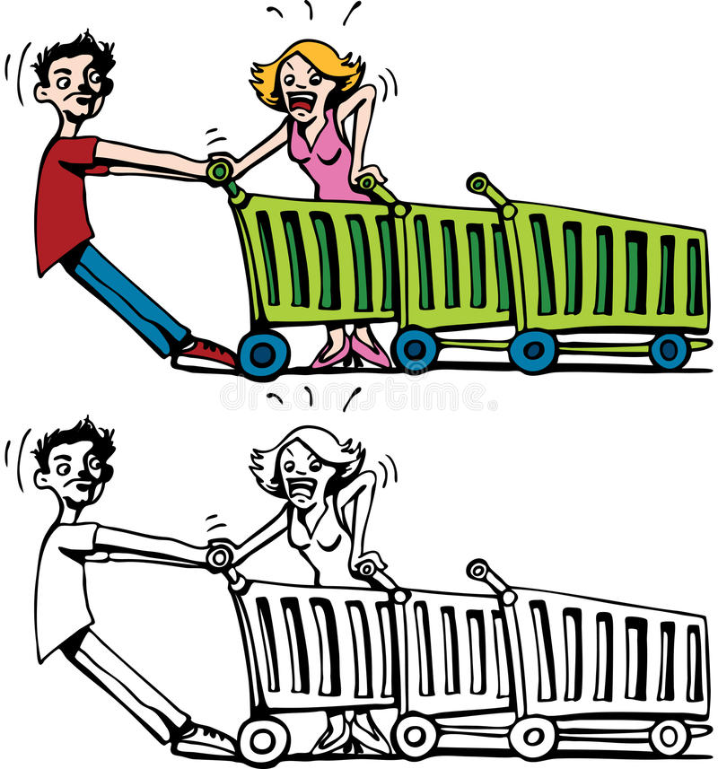 Customers Fighting Over a Cart. Cartoon image of two customers fighting over a shopping cart - both color and black / white versions vector illustration