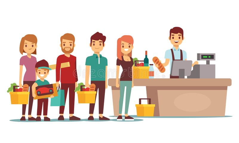 Customers people queue at cash desk with cashier in supermarket. Shopping vector concept. People queue in store market illustration vector illustration