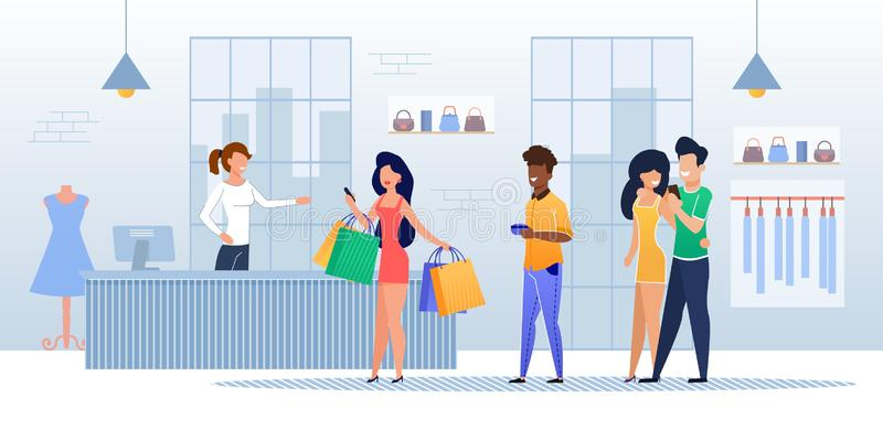 Customers Queue at Cash Register in Clothing Store. Afro American and Caucasian Men and Women with Purchases in Handbags Standing Counter with Friendly Smiling vector illustration