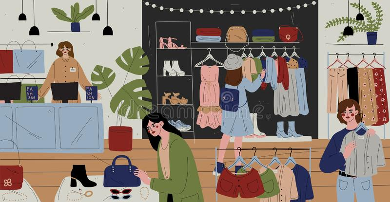 Customers and staff in clothes shop, chain store stock illustration