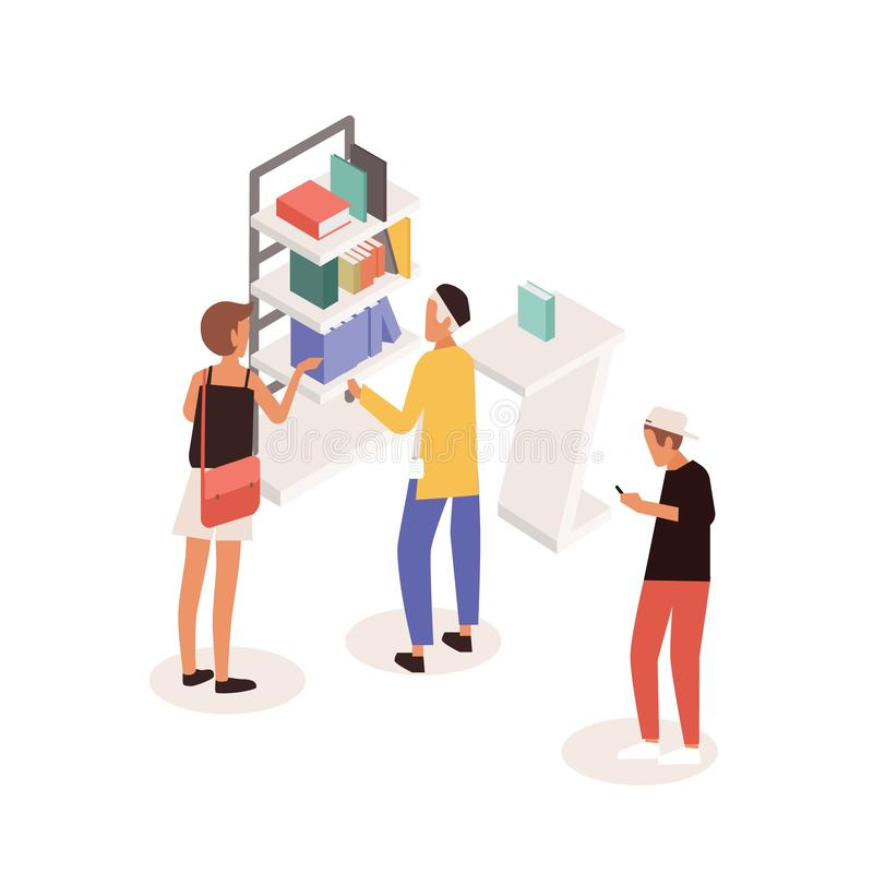 Customers standing near commercial promotional stand or shelves with books and talking to consultant. People at. Literature fair, exhibition or marketplace vector illustration