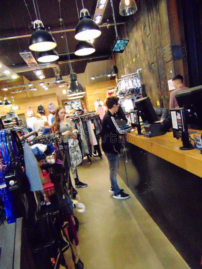 Customers shopping inside Superdry Store stock image