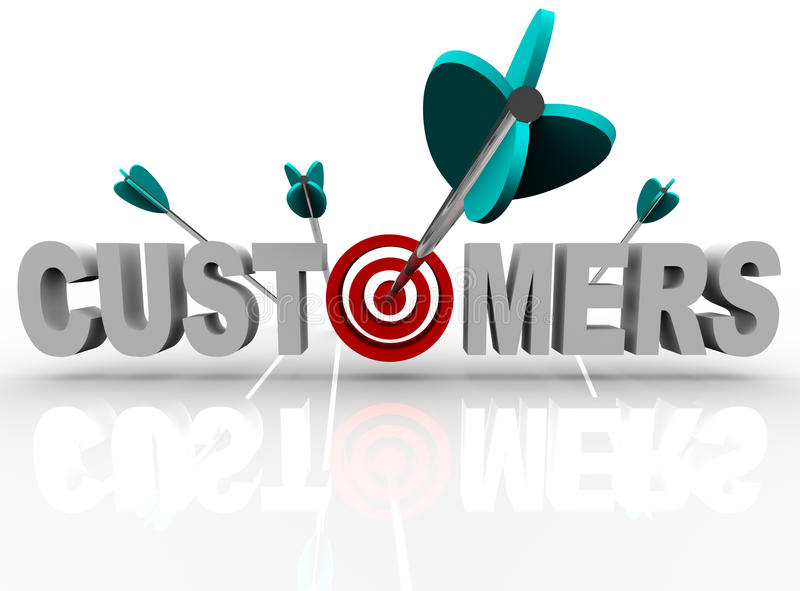 Customers - Target And Arrows Hit The Word Royalty Free Stock Photography