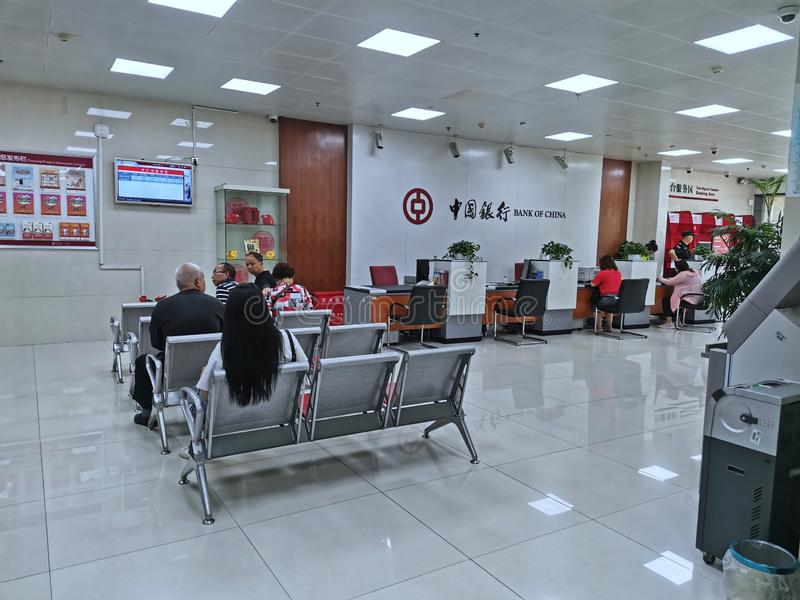 customers waiting for service at bank of china in Wuhan city royalty free stock photos