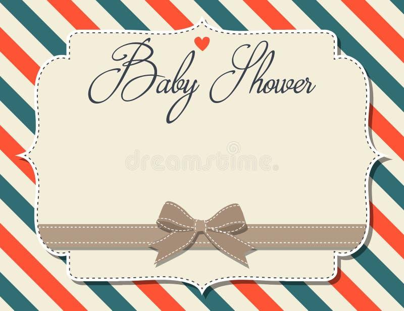 Customizable baby showerinbjudan i retro stil vektor illustrationer