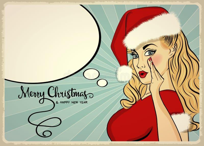 Customizable härlig retro julkort med det sexiga stiftet upp San royaltyfri illustrationer