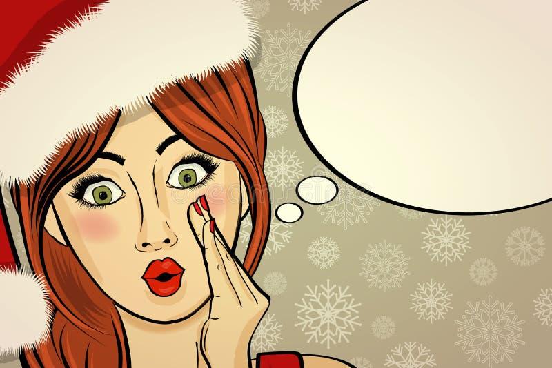 Customizable härlig retro julkort med det sexiga stiftet upp San vektor illustrationer