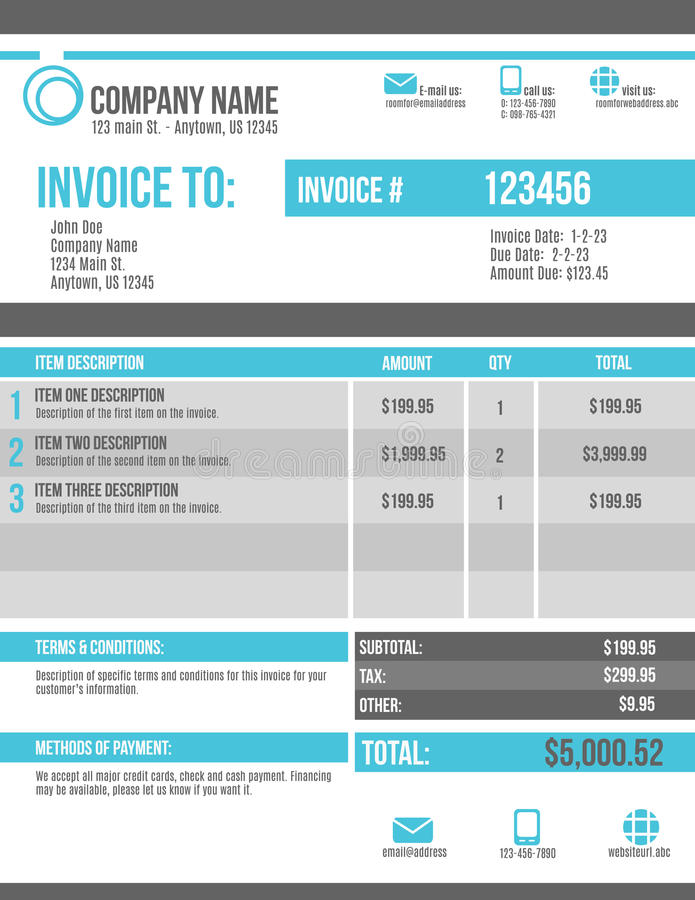 Customizable Invoice template design royalty free illustration