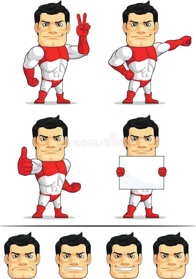 Customizable maskot för Superhero vektor illustrationer