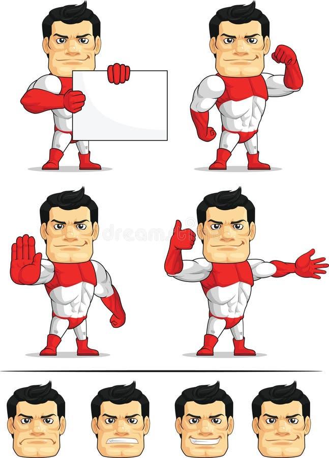 Customizable maskot 5 för Superhero stock illustrationer
