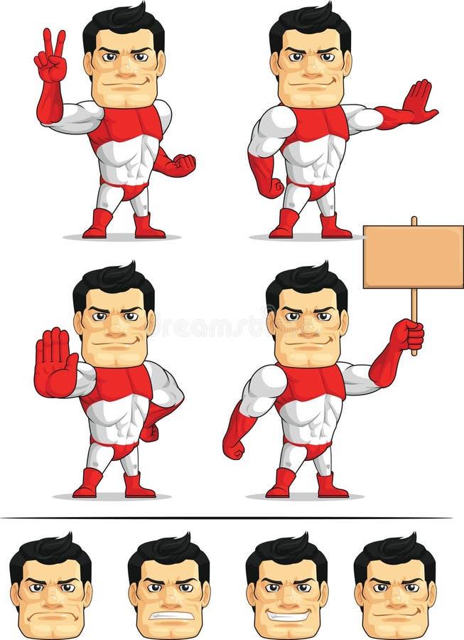 Customizable maskot 6 för Superhero vektor illustrationer