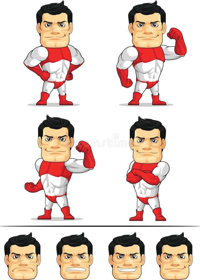 Customizable maskot 7 för Superhero stock illustrationer