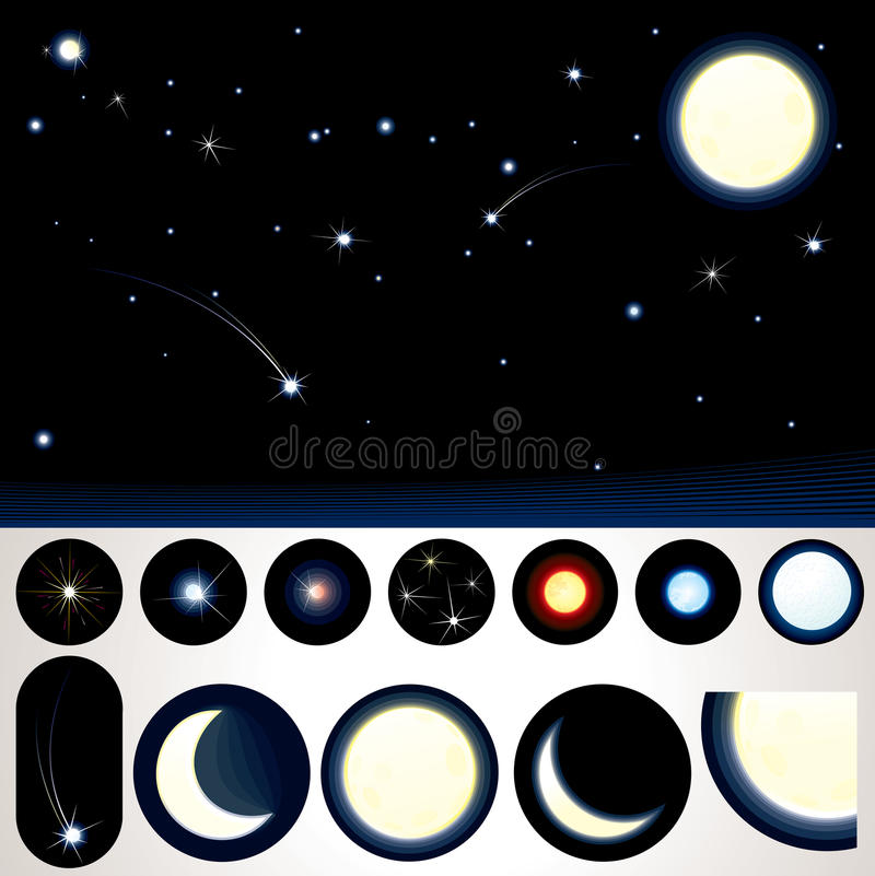 Download Customizable Night Sky stock vector. Illustration of elements - 22008491
