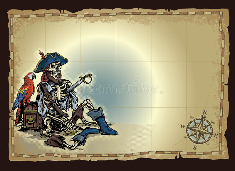 Deserted Pirate Skeleton Map royalty free illustration