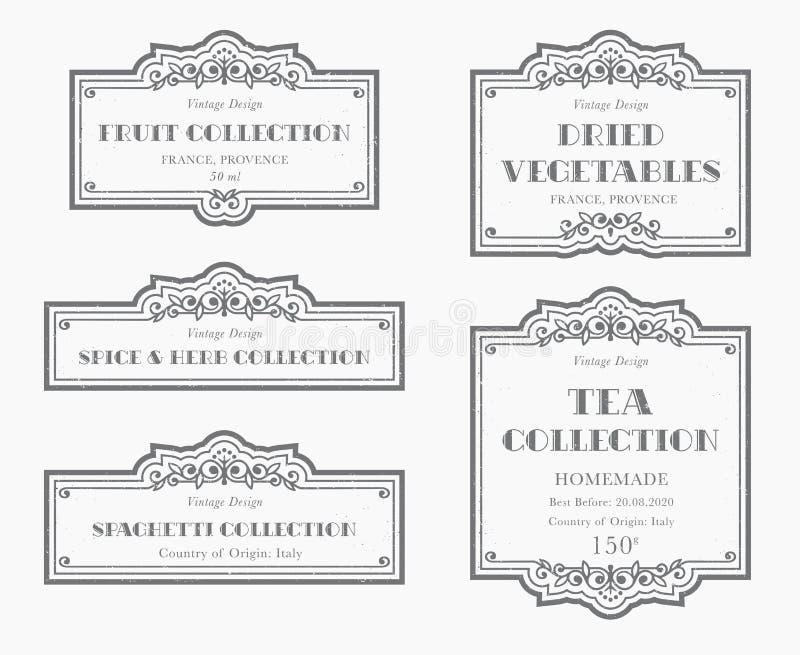 Customizable svartvit skafferietikettsamling royaltyfri illustrationer