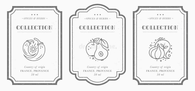 Customizable svartvit skafferietikettsamling stock illustrationer