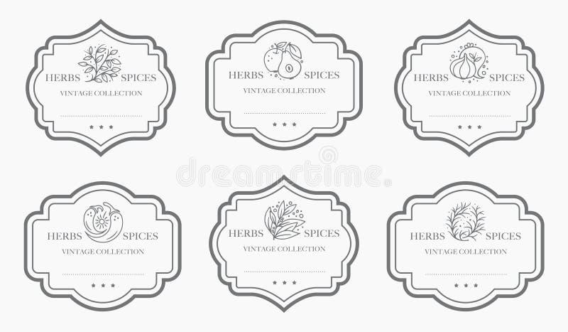Customizable svartvit skafferietikettsamling vektor illustrationer