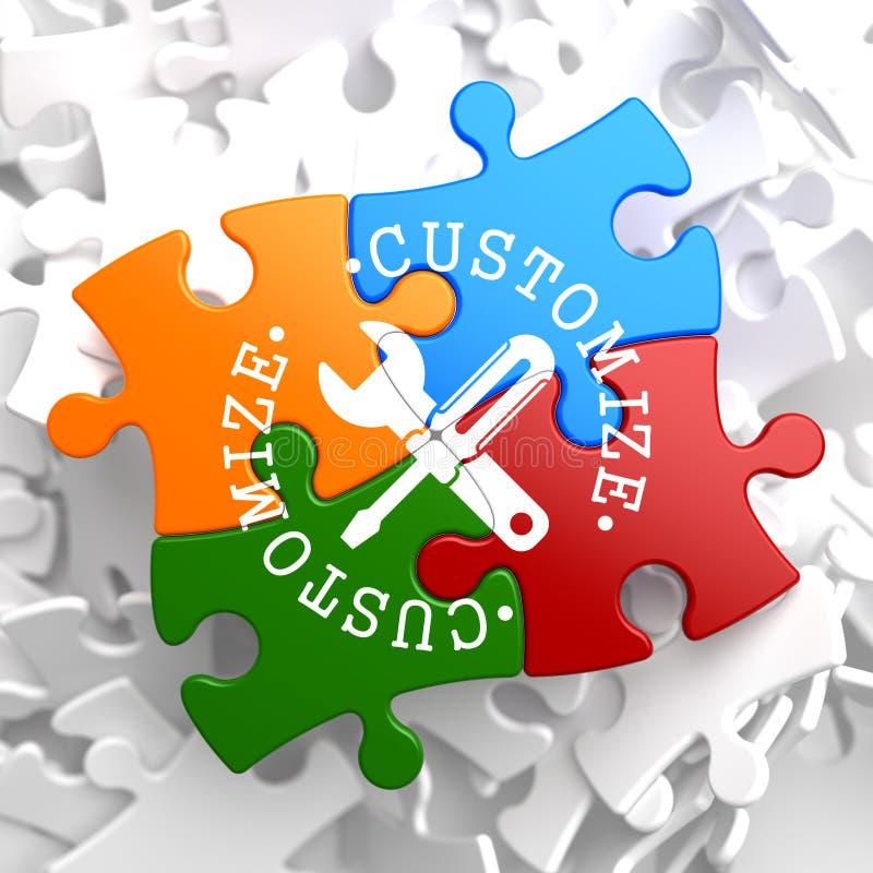 Customize Concept on Multicolor Puzzle. stock illustration