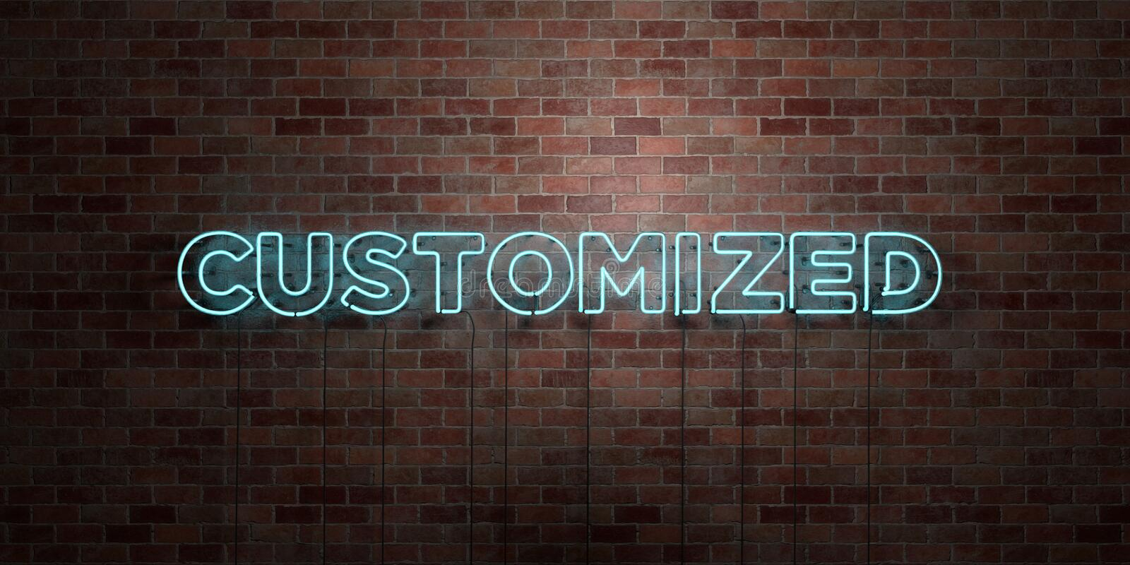CUSTOMIZED - fluorescent Neon tube Sign on brickwork - Front view - 3D rendered royalty free stock picture. Can be used for online banner ads and direct stock image