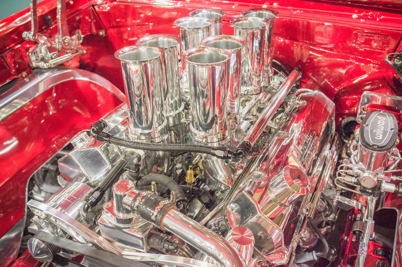 Customized muscle car engine displayed. Pomona, USA - March 12, 2016: Customized muscle car engine displayed during 3rd Annual Street Machine and Muscle Car stock photos