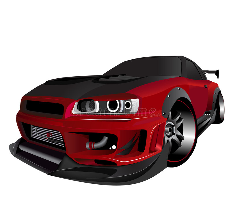 Customized nissan skyline GTR turbo drifting stock illustration