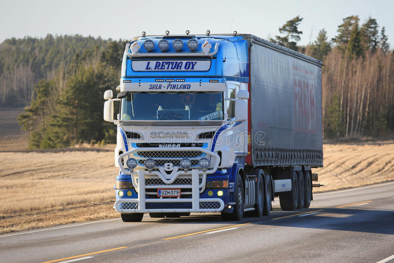Customized Scania R500 Cargo Truck Transport stock photos