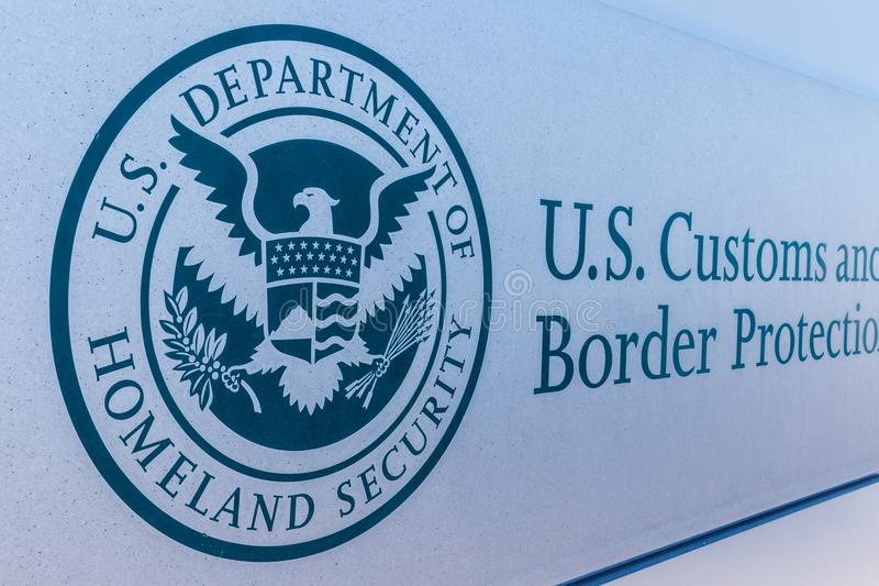 Indianapolis - Circa March 2018: Customs and Border Protection Revenue Division. CBP is a federal law enforcement agency II. Customs and Border Protection royalty free stock photography