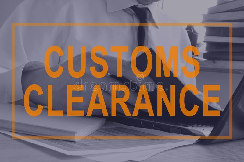 Customs Clearance concept. Man working with documents. vector illustration
