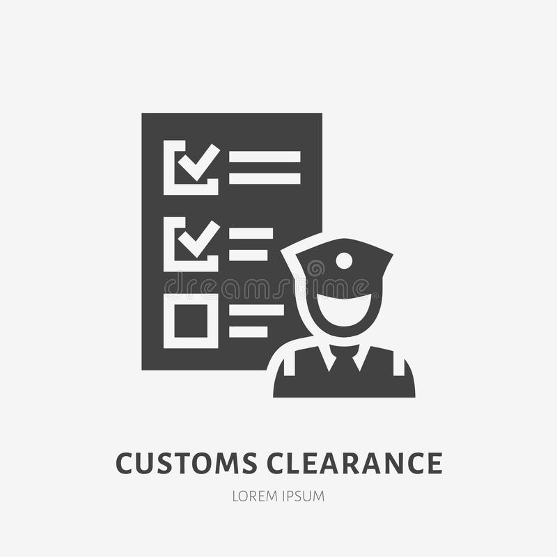 Customs clearance flat glyph icon. Policeman inspecting luggage sign. Solid silhouette logo for cargo trucking, freight vector illustration