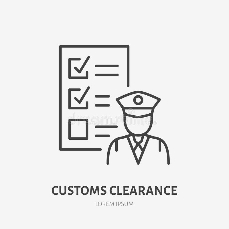 Customs clearance flat line icon. Policeman inspecting luggage sign. Thin linear logo for cargo trucking, freight. Services vector illustration
