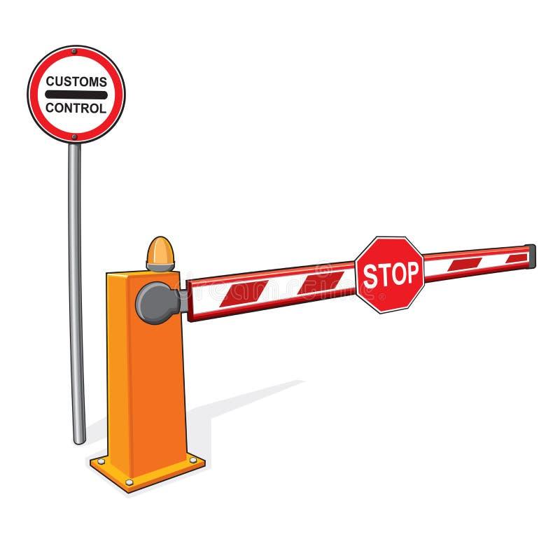Customs control sign, stop sign, barrier. vector illustration